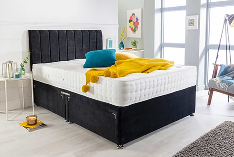 Black Velvet Divan Bed Set with Memory Mattress – 6 Sizes & Drawer Options! (£159)