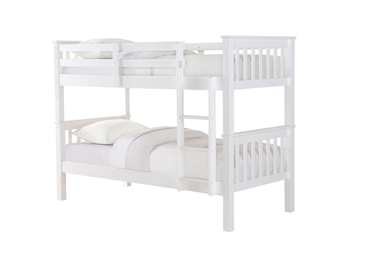 Solid Pine Wood Single Bunk Bed - 3 Colours & Mattress Option!