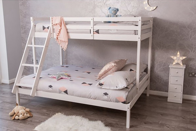 £129 instead of £350 (from Dream Outdoors) for a pine wood triple bunk bed frame, £229 to include a mattress – save 57%