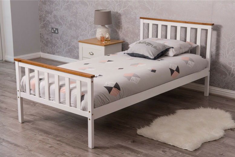 £49 (from Dreams Outdoors) for a single pine wood bed frame, £99 for a double bed frame, or £199 for a double bed frame with mattress – choose from two colours