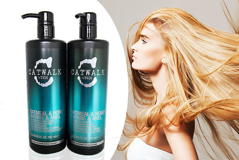 £15 instead of £55.46 (from Online Beauty Deals) for bottles of TIGI Catwalk 'oatmeal and honey' nourishing shampoo and conditioner - save 73%