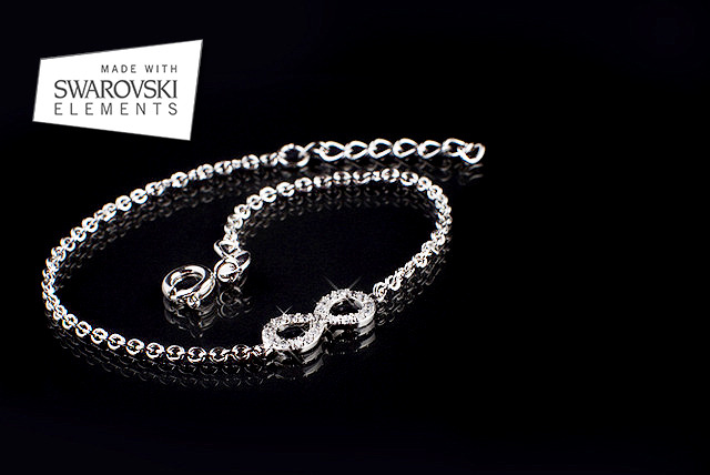 £10 instead of £75 (from Jewel Unique) for an 18ct white gold-plated infinity bracelet with Swarovski Elements - save 87%