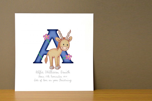 £6.99 instead of £25 (from Frame My Name) for a children's personalised Animal Adventures Initial Letters print - save 72%