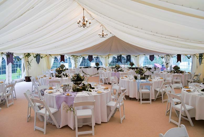 From £1999 for a wedding package for 50 guests with marquee, 3-course wedding meal and more at Friars Carse Hotel, Dumfries, £2550 for an evening buffet