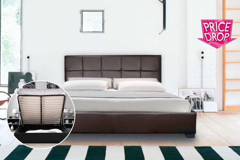 £89 (from Furniture Italia) for a faux leather double ottoman storage bed, £109 for a king size bed, or from £139 to include a mattress - save up to 87%