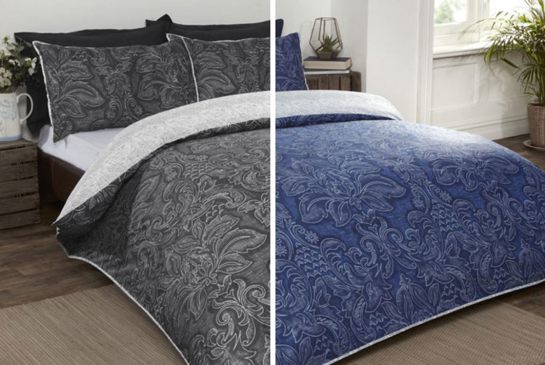 From £12 instead of £45 (from Cascade Home) for a Heritage damask duvet set – choose from three sizes and save up to 73%