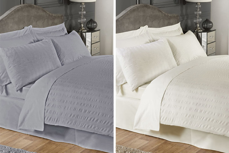 From £14.99 (from Casade Home) for a single seersucker duvet set, £18.99 for a double or £21.99 for a king – save up to 70%