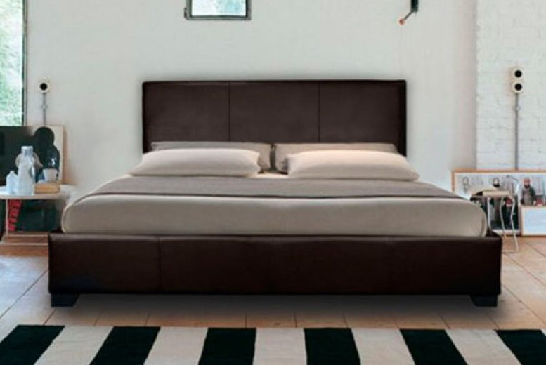 Mona Faux Leather Bed with Optional Mattresses – 4 Sizes! (£39)