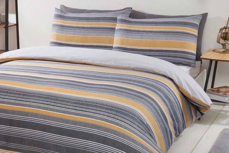 Chambray Striped Bedding Set – 4 Sizes & 4 Colours! (£12)