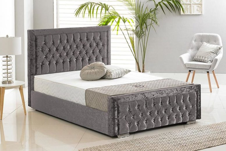 Crushed Velvet Sandringham Bed – 5 Sizes & 6 Colours! (£229)