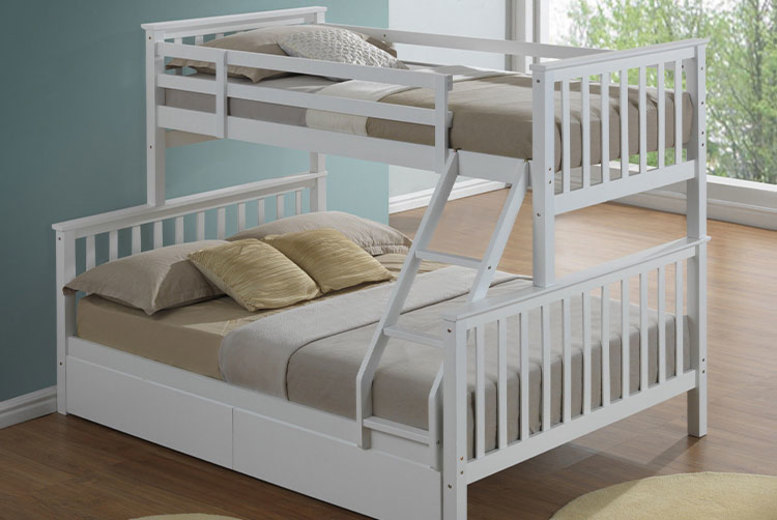 Triple-Sleeper Bunk Bed – 2 Colours & Optional Drawers! (£279)