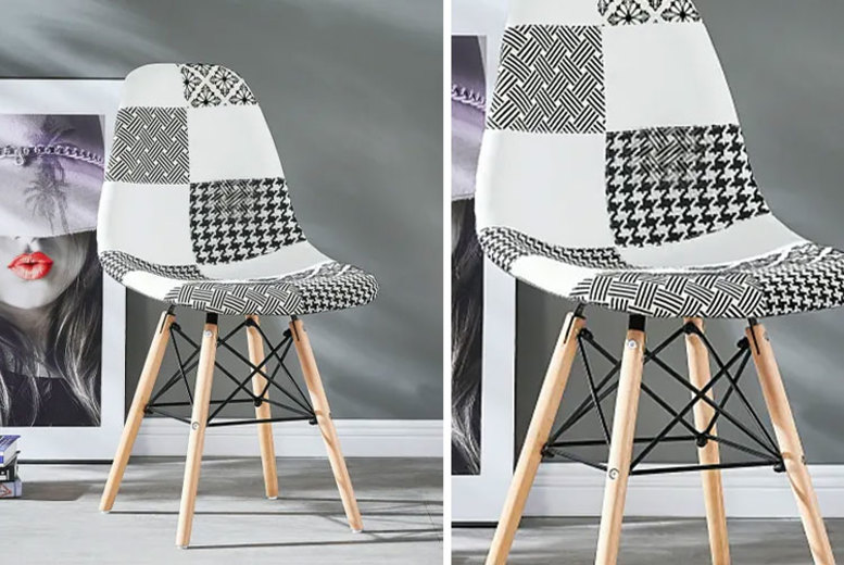 Black and White Patchwork Chair - 1, 2 or 4!