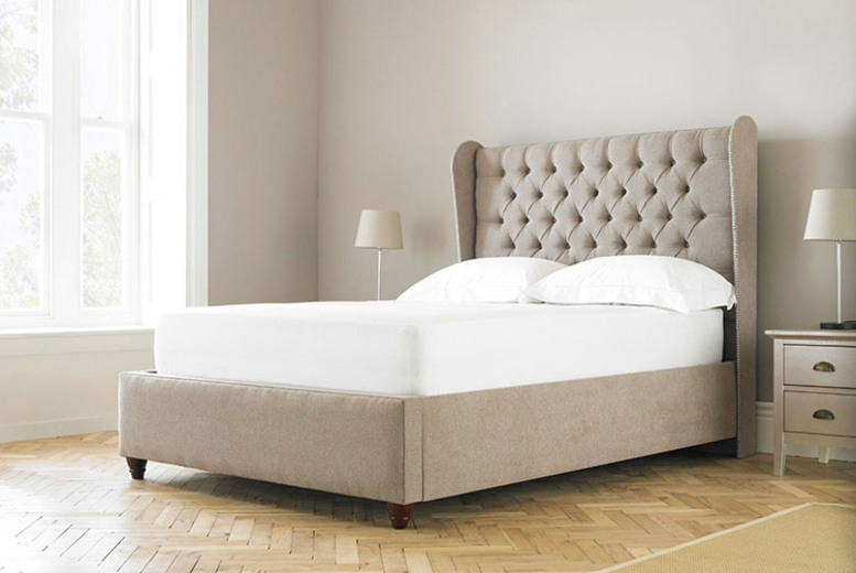 From £249 instead of £769.01 (from Sleep Express) for a single Mayfair beige wingback chesterfield bed frame – save up to 68%