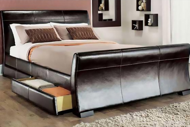 Venetian Storage Sleigh Bed With Optional Mattress – 4 Sizes! (£119)