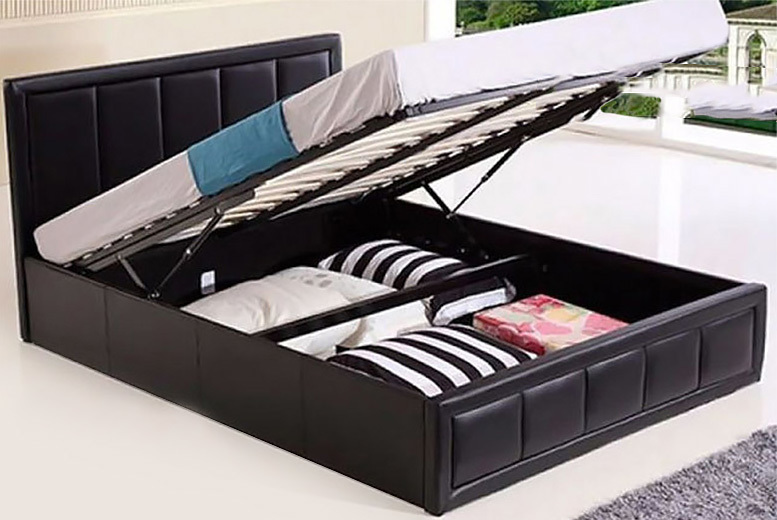 Faux Leather Ottoman Bed w/ Mattress Options – 3 Sizes & 2 Colours! (£99)