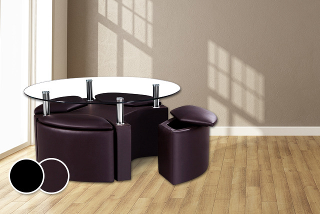 £149.99 instead of £299 (from Mattress Shed) for a coffee table with 4 'hideaway' stools in a choice of black or brown - save 50%