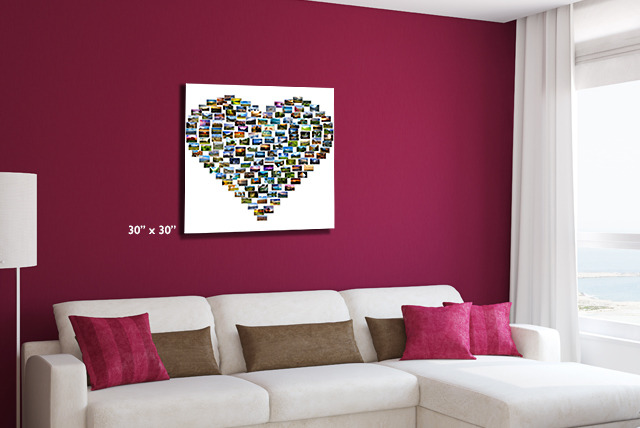 £14.99 instead of £50 (from YA2C) for a medium heart montage canvas, £24.99 for large, or £29.99 for extra-large - save up to 70%