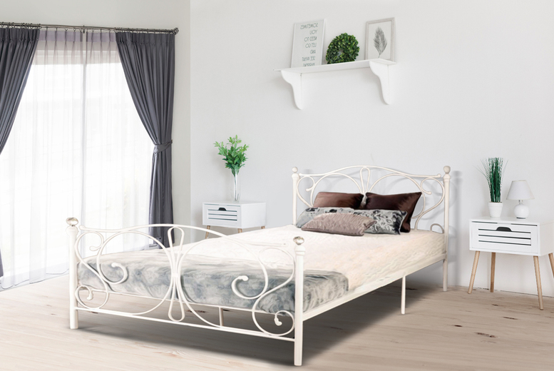 Crystal Metal Bed Frame w/ Optional Mattress – 4 Sizes & 2 Colours! (£49.99)