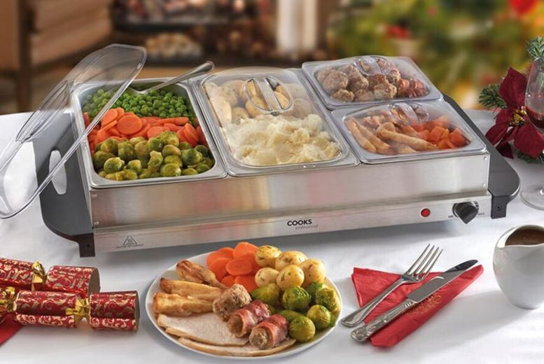 £19.99 instead of £59.95 (from CJ Offers) for a three-section buffet warmer or £32.99 for a four-section buffet warmer - save up to 67%