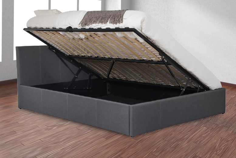 Dark Grey Fabric Side Lift Ottoman Storage Bed – 4 Sizes! (£129)