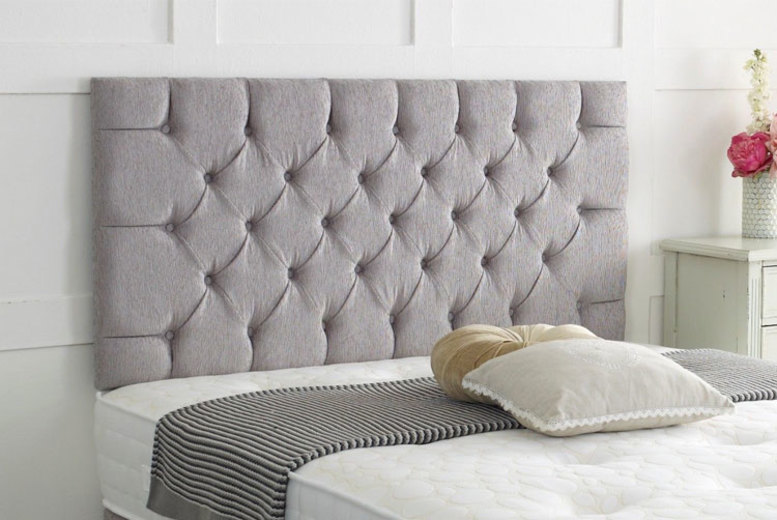 From £19 instead of £56.99 (from Serenity Designs) for a Chesterfield chenille headboard – save up to 66%