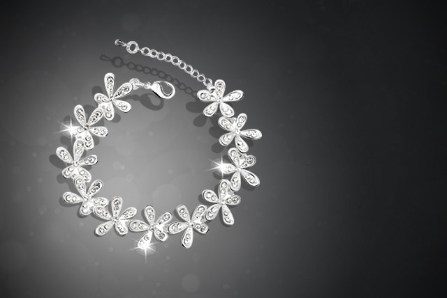 £10 instead of £60 (from Boni Caro) for a platinum-plated crystal flower bracelet - save 83%