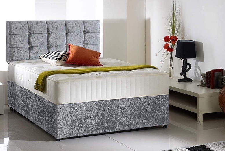 From £99 instead of from £570 (from Durest) for a crushed velvet divan bed with memory spring mattress & cubed headboard – choose from six sizes and drawer options while saving up to 83%