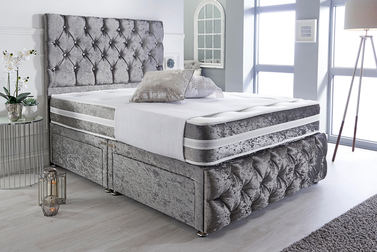 Crushed Velvet Divan w/ Optional Drawers - 5 Colours and 6 Sizes!