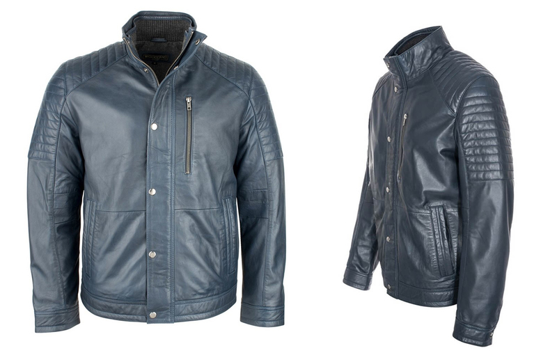 Men's Real Leather Classic Navy Biker Jacket - 7 Sizes!