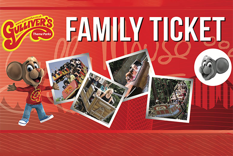 £39 instead of £75.80 for a gift ticket for a family of four to any Gulliver's Theme Park in a choice of three locations - have a grand day out in 2017 and save up to 49%