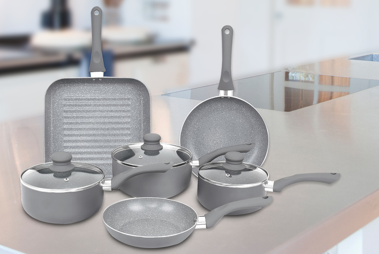 £32.99 instead of £54.99 (from Eurotrade) for a nine-piece aluminium induction grey marble-effect pan set - save 40.01%