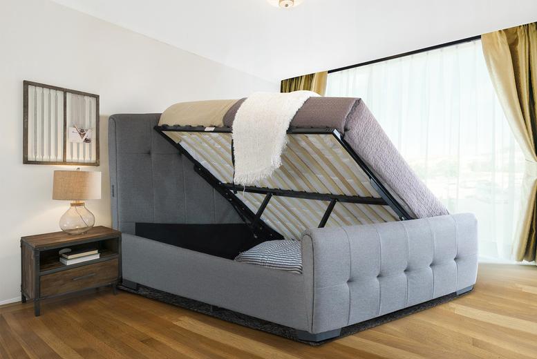 Grey Bell Side Lift Ottoman Bed W/ USB Ports – Mattress Options! (£239)