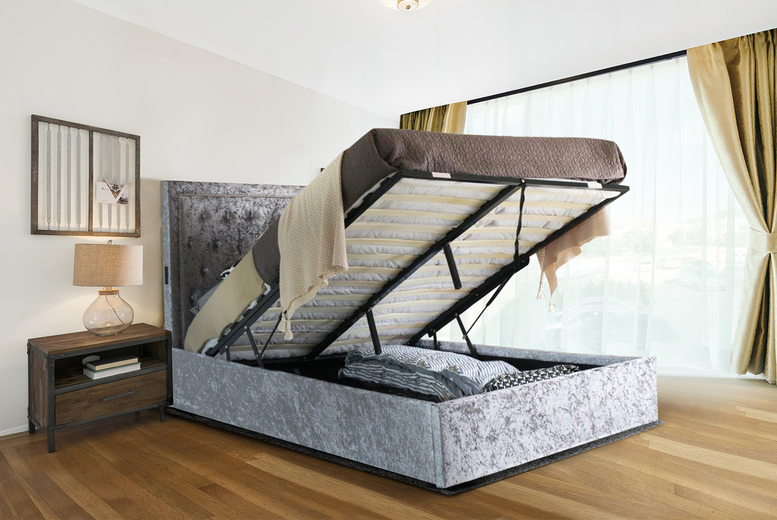 Crushed Velvet Ottoman Bed with USB Ports & Optional Mattress (£199)