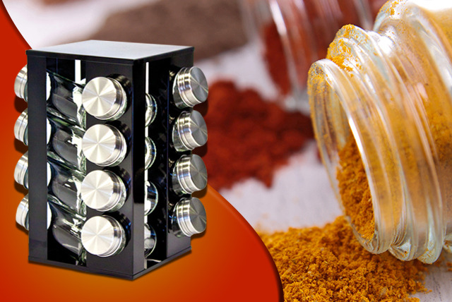 £10 instead of £29.99 (from SQ Professional) for a Gems revolving metallic spice rack and 16 jars - save 67%