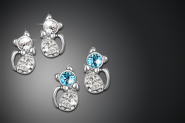 £8 instead of £40 (from Boni Caro) for a pair of platinum-plated cat earrings in clear or blue - save a meow-zing 80%