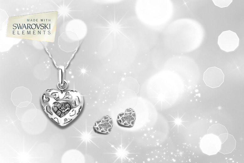 £14 instead of £49.99 (from Marcus Emporium) for a Swarovski Elements 'Hearts and Romance' necklace set - save 72%