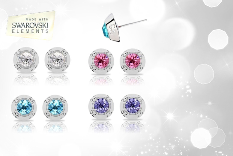 £5 instead of £27 (from Evoked Design) for a pair of 18ct white gold-plated stud earrings with Swarovski Element crystals - save 81%