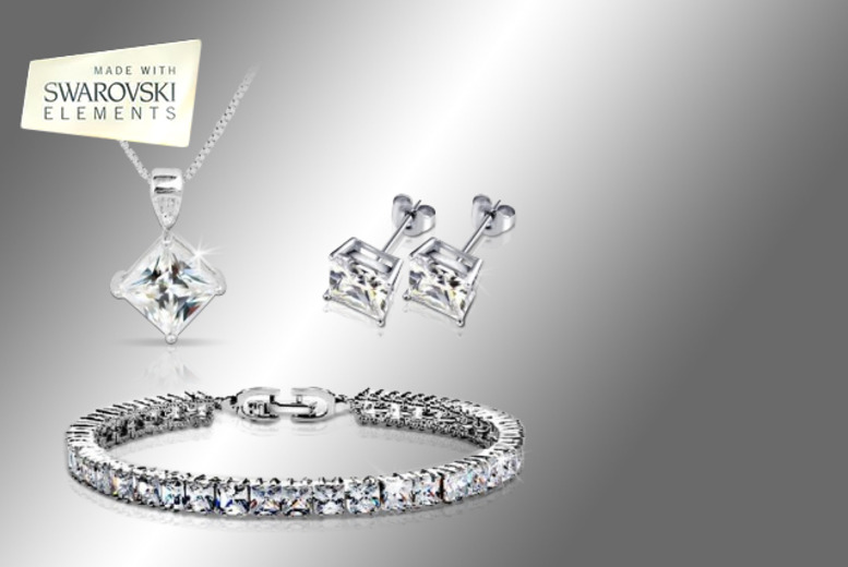 £19 instead of £98 (from Evoked Design) for a Swarovski Elements crystal square tri set - save 81%
