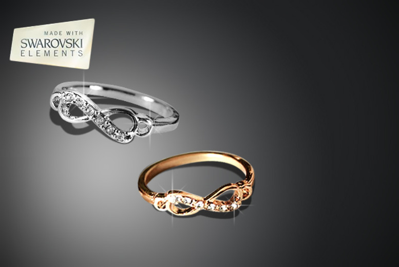£8 instead of £16 (From Marcus Emporium) for a silver or gold-coloured Swarovski Elements infinity ring, £14 for both - save up to 50%