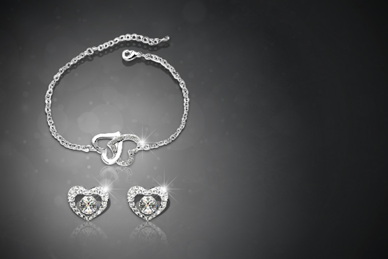 £12 instead of £79 (from Boni Caro) for a platinum-plated double heart bracelet and earrings set - save 85%