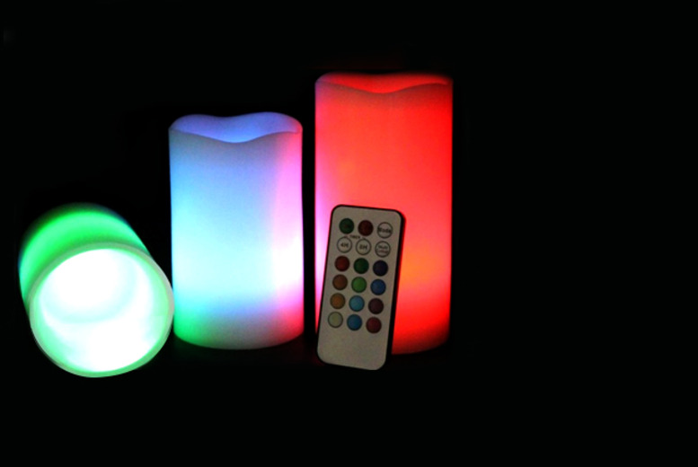 £15 instead of £29.99 (from Chimp Electronics) for 3 colour-changing LED remote-controlled candles - save a hot 50%