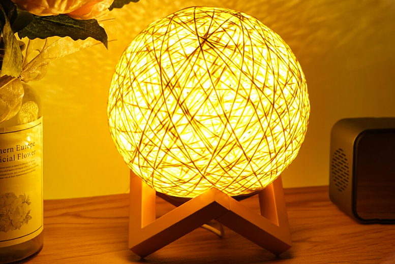 3D Rattan Effect Moon Lamp & Wooden Base (£7.99)