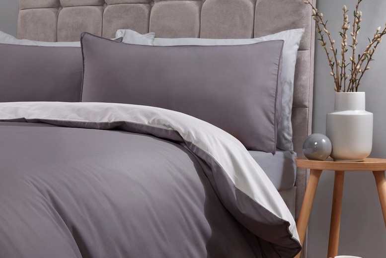 From £14 (from Five Minutes More) for a single piped edged reversible duvet cover set – choose your size and colour