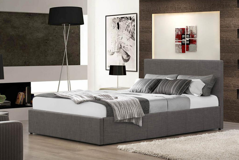 Fabric Gas Lift Ottoman Bed & Optional Mattress – 5 Sizes! (£123)