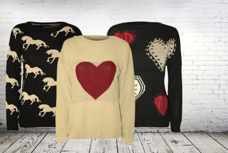£10.99 instead of £24.99 (from Wearall.com) for a choice of horse or heart print knitted jumpers - save 56%