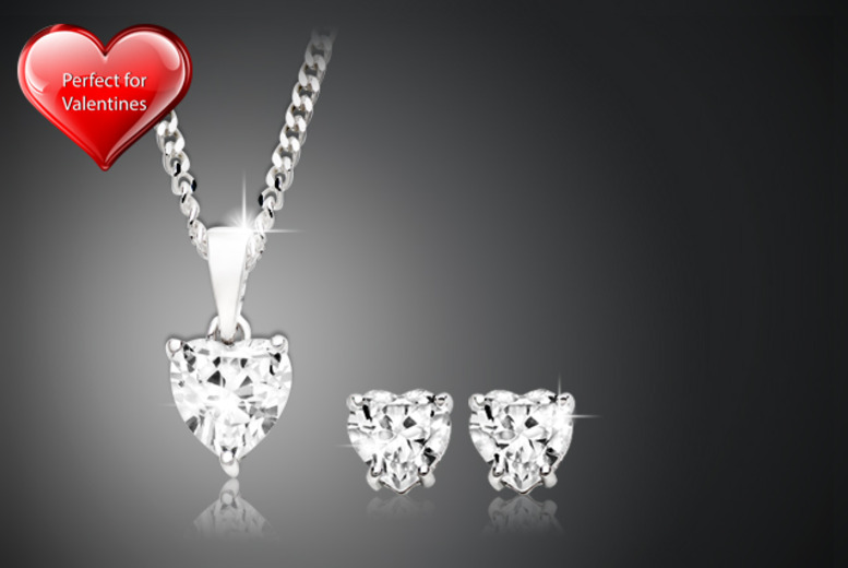 £14.99 instead of £62 for a zirconia heart pendant and earrings set from Wowcher Direct - save 76% + DELIVERY IS INCLUDED
