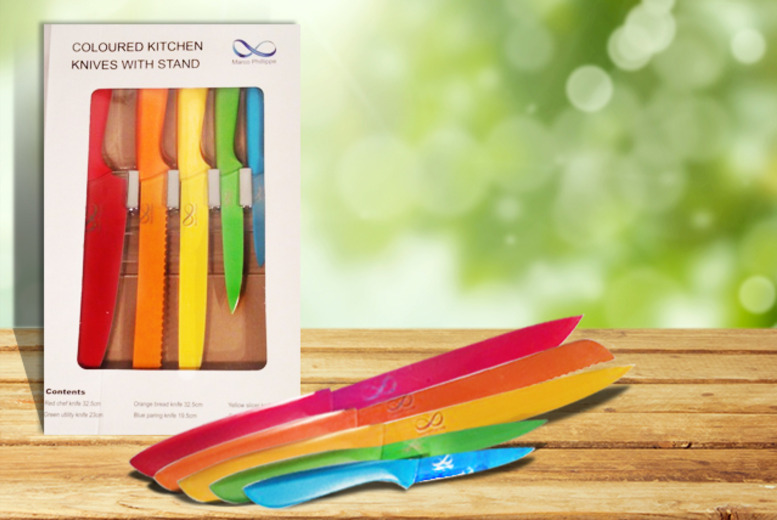 £19.99 instead of £49.99 (from Bisome) for a Marco Phillippe multi-coloured 5-piece knife set - save 60%