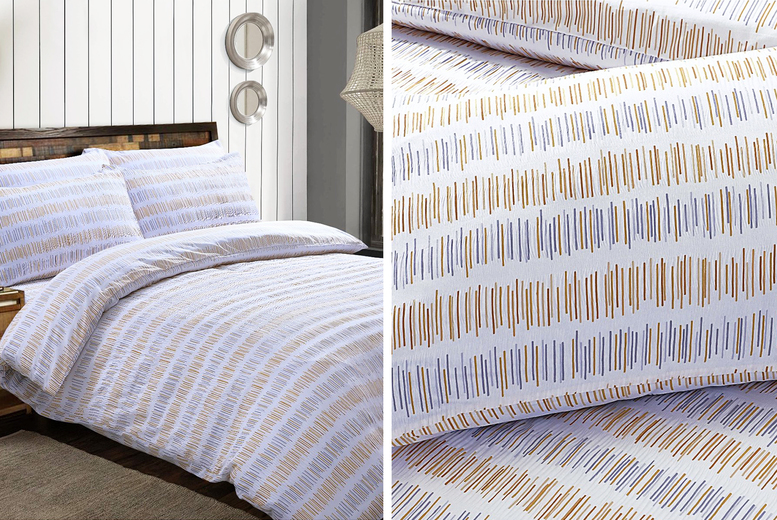 Seersucker Stripe Duvet Cover Set – 3 Colours! (£12.99)