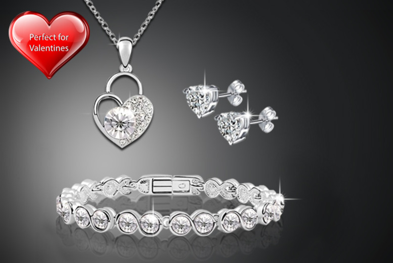 £19 instead of £119 (from Evoked Design) for a locked heart Swarovski Elements tri set - save 84%