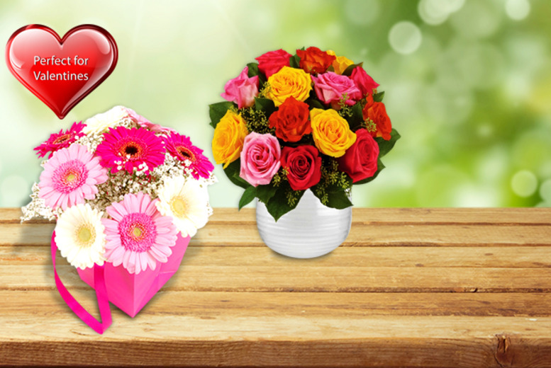 £14.99 (from Order Flowers) for a 'Pretty in Pink' gift bag or 'Mixed Roses' bouquet, £19.99 for a 'Vintage Pink' or 'Peaceful' bouquet - save up to 63%